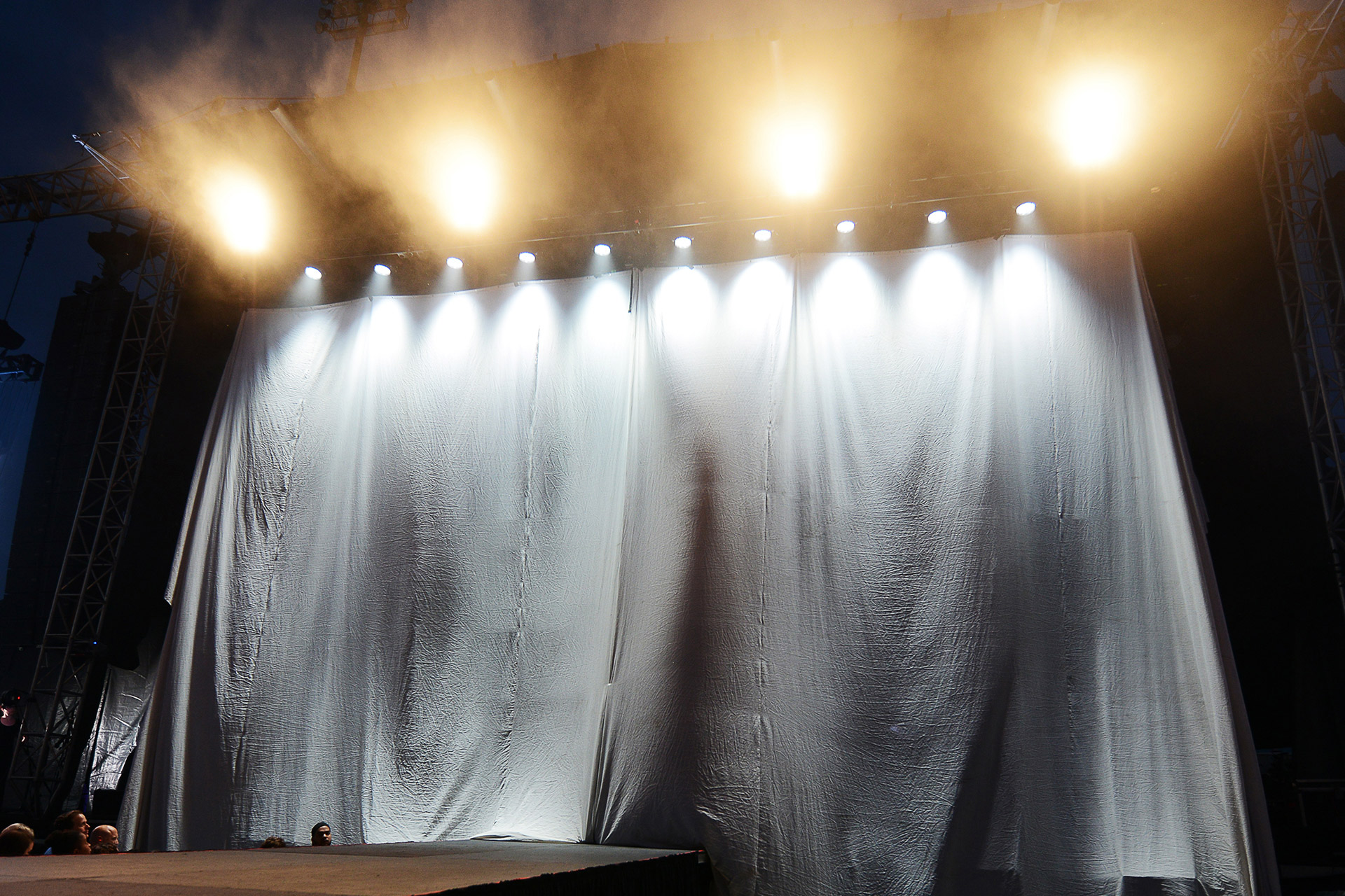 Stage with white curtain